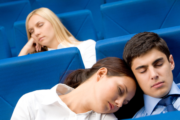 Sleeping during boring presentation and PowerPoint.